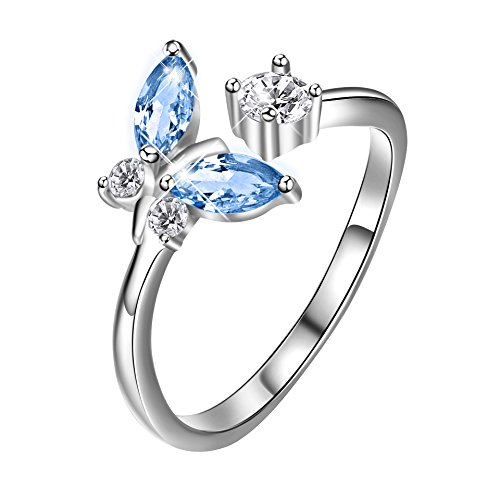 - AOBOCO 925 Sterling Silver Adjustable Open Butterfly Rings Women Girls Jewelry Gifts Birthday