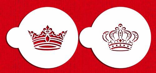 Designer Stencils C586 Royal Crowns Cookie Stencil Set, Beige/Semi-Transparent (Stencil Crown)