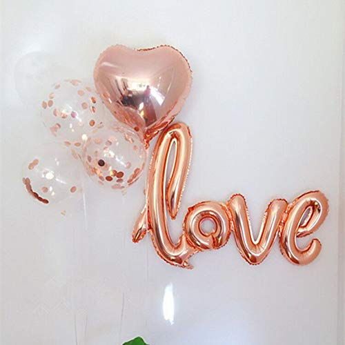 Rose Gold Foil Confetti Balloon Bouquet for Engagement Party Decorations | Baby Shower Decorations | Rose Gold Balloons | Rose Gold Heart | Love Balloon(16 Pack) -