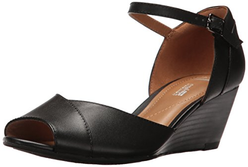 Clarks Women's Brielle Dacy Wedge Sandal - Black Leather ...
