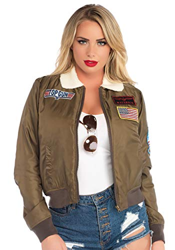 80s Diva Adult Costume - Leg Avenue Womens Top Gun Licensed Bomber Jacket, Khaki, Small