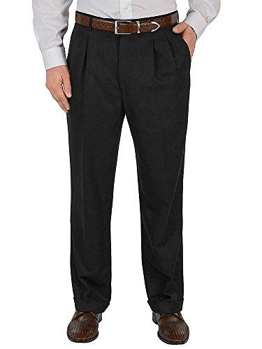 Paul Fredrick Men's Microfiber Solid Pleated Pants Black 30