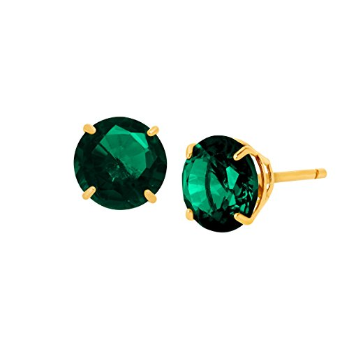 1 1/2 ct Created Emerald Round-Cut Stud Earrings in 10K Gold