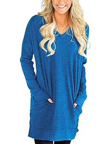 (Buauty Women's Casual V-Neck Long Sleeves Pocket Solid Color Shirts Tunic Blouse Tops Blue)