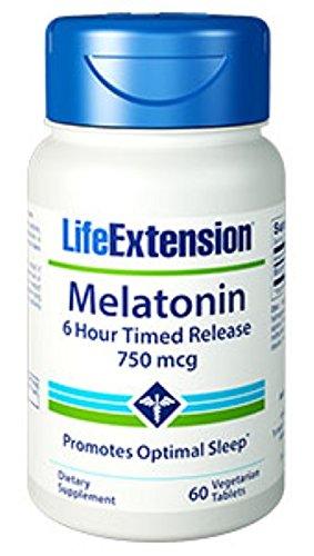 Mcg Timed Release (Melatonin 6 Hour Timed Release 750 mcg, 60 vegetarian tablets-PACK-3)