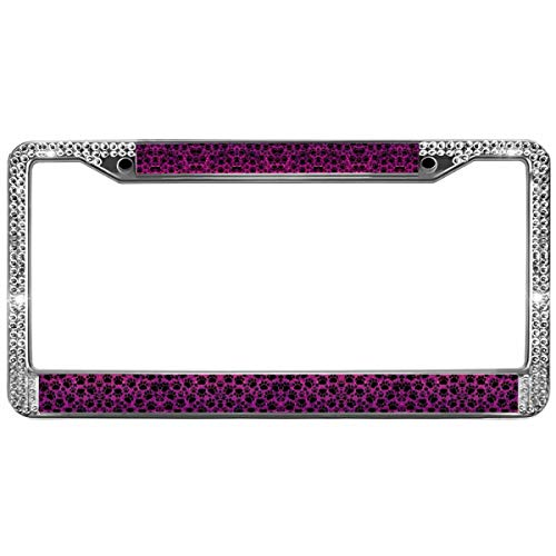 (GND Crystal Diamond Bling License Plate Frame,Color Dog Paws Rhinestone Car License Plate Frame Dog Paw Prints Crystal Bling Metal Chrome License Plate Frame)