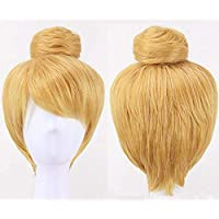 Anogol Hair Cap + Mujeres corto cosplay recta peluca de disfraces para Halloween Party Hair Blonde Rubio