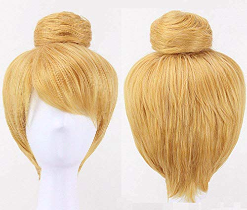 Anogol Hair Cap+ Women Short Straight Cosplay Costume Wig for Halloween Party Hair Gold Blonde
