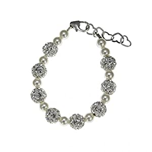 Crystal Dream Elegant White Simulated Swarovski Pearls Shamballa Beads Sparkly Sterling Silver Baby Bracelet (BSHW)