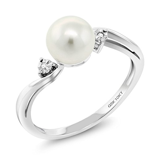 10K White Gold 6mm Cultured Freshwater Pearl Women's Ring With Diamond (Size 6) -