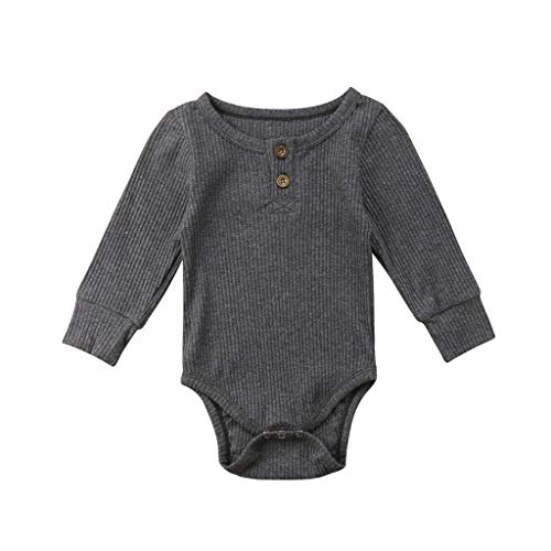 Newborn Baby Pajamas Bodysuit, Toddler Boys Girls Romper Jumpsuit Long Sleeve Solid Casual Playsuit Tops for Autumn Winter (Dark Gray, 0-3 Months) – The Super Cheap