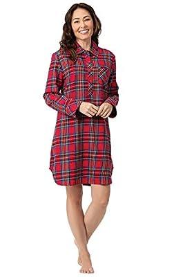 PajamaGram Women's Sleep Shirt Plaid - Sleepshirt Womens