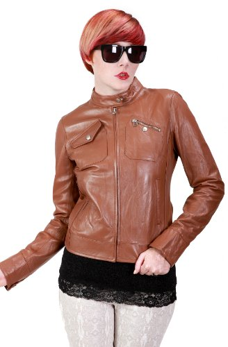 United Face Womens New Leather Moto Jacket, Cognac, X-Large
