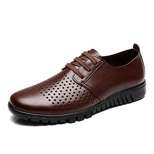 Scarpe 47 in scarpe Hollow shoes Color da pelle Dimensione Brown uomo autunno Scarpe Jiuyue e Uomo casual Oxford stile cava Marrone casual Pelle da EU uomo 2018 qEvxn84g