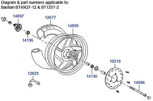 BEARING 6201ZZ Baotian BT49QT9 Front Wheel BEARING 49cc 50cc Pulse Scout Speedy