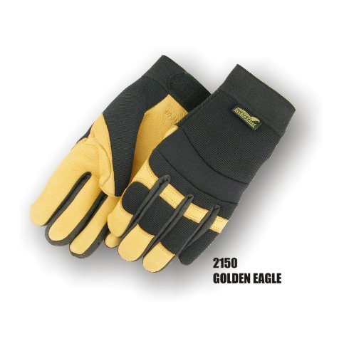 [Golden Eagle Winter Lined Deerskin Leather Gloves with Windproof Heatlok (Mechanics Style), Medium] (Deerskin Winter Lined Glove)
