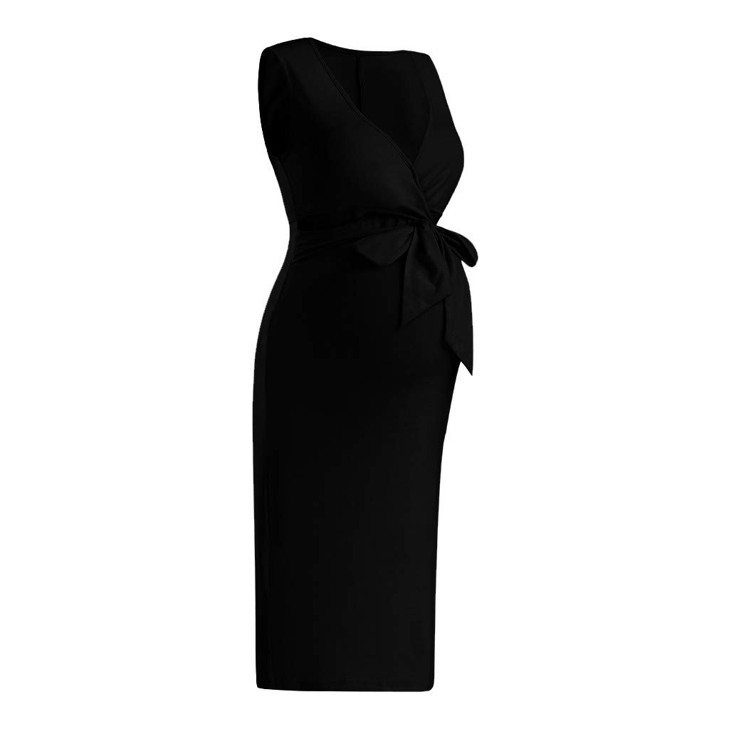 Womens Maternity Dress Summer Sleeveless Bow Solid Casual Dress V-Neck Pregnant Bodycon Sundress S-2XL