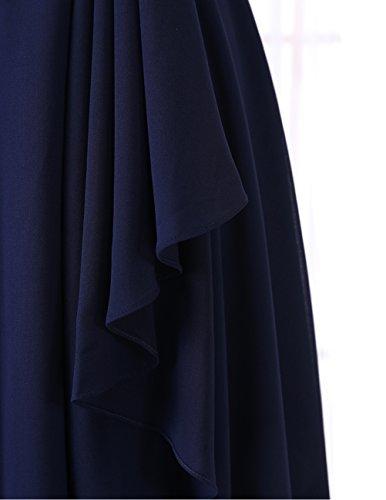 Robe Dresstells col D'honneur Demoiselle de Courte carr Raisin Mousseline xw6wUpd