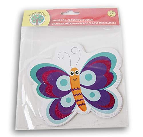 Purple Butterfly Classroom Decor Foil Paper Cut-Outs - 10 -