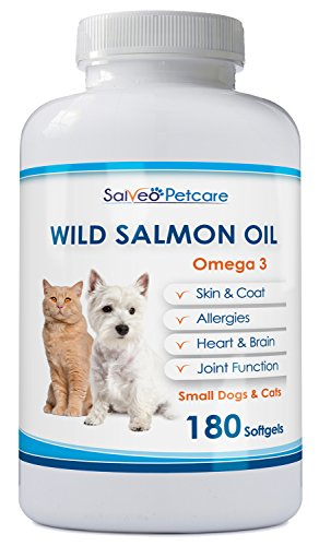 Salmon Oil for Dogs and Cats - Premium Omega 3 Supplement for Healthy Skin and Coat - Wild Caught Alaskan Fish Oil - 180 Easy to Swallow 500mg Capsules Best for Small Dogs - No Fishy Smell or Mess