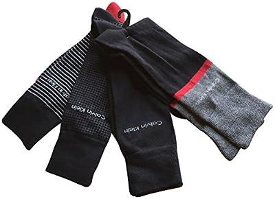Calvin Klein Men's Dress Socks 4 Pack Striped Solid Black