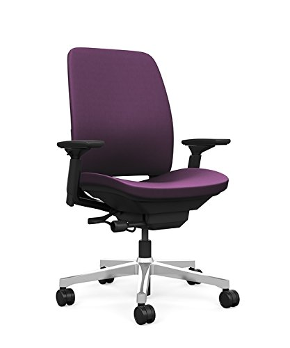 Steelcase Amia Task Chair: Black Frame/Polished Aluminum Bas