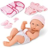 Liberty Imports Newborn Baby Girl Doll Clothes Accessories | Realistic Toy Kids | 8 Piece Gift Set Lifelike Vinyl Alive Dolls Toddler Gifts | Pink (14-Inch)