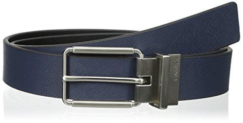 Calvin Klein Men's 32 mm Reversible Flat Strap Harness Buckle Belt, Navy/Black, 34