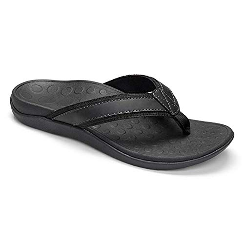 Vionic Men's Tide Toe-Post Sandal - Flip Flop with Concealed Orthotic Arch Support Black 10 M US -