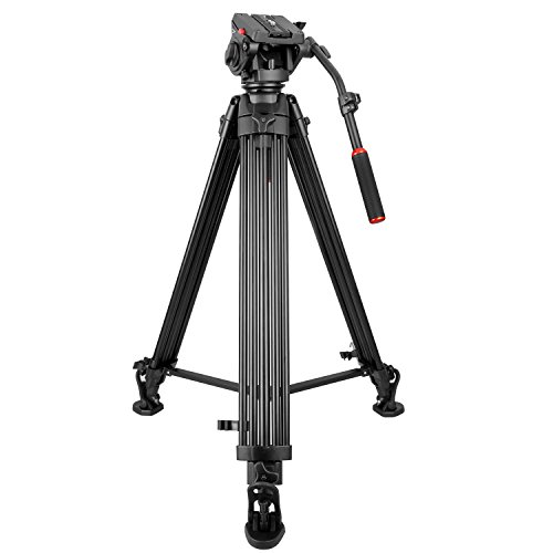 79.5-inch Aluminum Camera Video Tripod with 360-Degree Panoramic Fluid Head,KINGJOY VT-3500+VT-3530 Video Tripod Fluid Head Max. Load up to 20kg/44.09lbs for DSLR Camcorder Video Shooting Photography by KingJoy