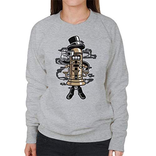 Heather Women's Character Grey Coffeemaker Sweatshirt Cartoon PqpYRnSw