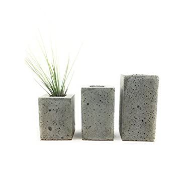 Square Concrete Succulent Planters / Air Plant Holder / Vase. (set of 3) Natural Gray. FREE SHIPPING! Ready To Ship!