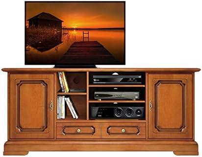 Mueble porta TV Home Cinema compartimento Subwoofer, base TV pared salón, 2 puertas 1 cajón compartimentos a día, color cerezo, precio de fábrica, decoración de artesanía italiana, dimensiones: 160 x 70,5 x