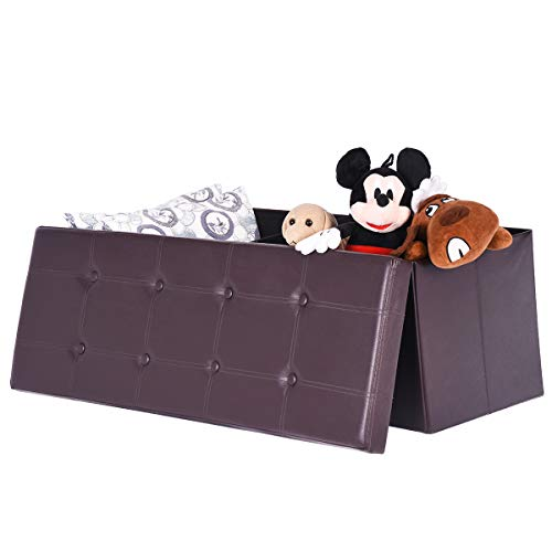 "Amooly 44"" Faux Leather Folding Storage Ottoman Bench,Toy Ch"