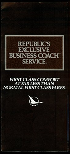 Republic Airlines Business Coach Service Airline Folder 1970S