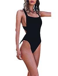Lukitty Women's Sexy One Piece High Cut Backless Bikinis Bathing Suits Swimsuits
