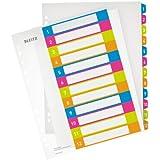 Leitz 12440000 - Índice para archivadores (A4, pestañas numeradas del 1 al 12), multicolor