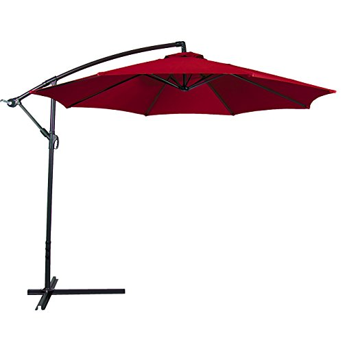 Genial Belleze 10 Foot Outdoor Patio Sun Shade Umbrella | Hand Crank | Fade  Resistant | Cantilever | Octagonal | Red | Large