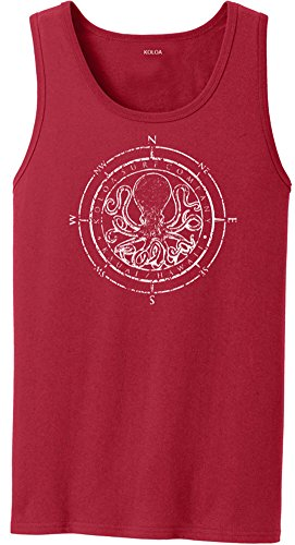 Koloa Surf Octopus Logo Heavyweight Cotton Tank Top-Red/w-S ()