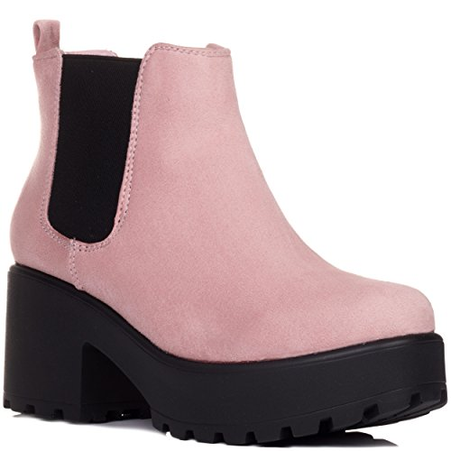 Spylovebuy HELIXA Block Heel Cleated Sole Platform Chelsea Ankle Boots Pink Suede Style
