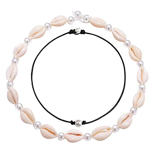 Long tiantian Women Puka Shell Necklace Bracelet 2 Pcs Set Adjustable Leather Anklet Hawaii Beach Choker Jewelry for Girls (D:2set-3)