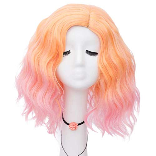 Lefinis Orange Pink Women's Short Curly Wavy Shoulder Length Synthetic Pastel Cosplay Wig Colorful Costume Wigs