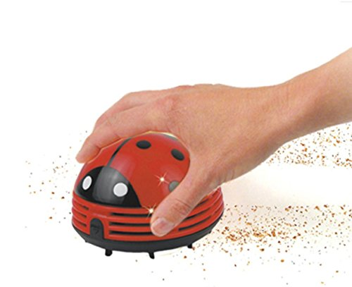 Honbay Ladybug Shaped Portable Corner Desk Vacuum Cleaner Mini Cute Vacuum Cleaner Dust Sweeper (Bug Powered)