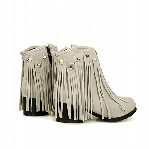 Mee Shoes Womens Sexy High-heel Rivets Tassels Ankle-high Boots Grey UzAtjsHz4