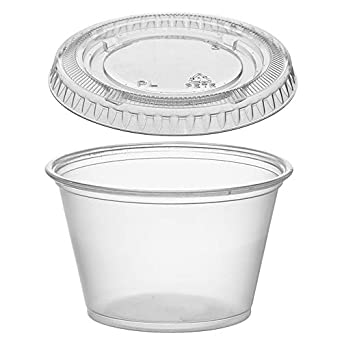 e043b9dbdf9 (125 Pack) 4-Ounce Plastic Portion Cups with Lids, Small Clear Plastic  Condiment Cups/Sauce Cups, Disposable Souffle Cups/Jello Shot Cups by  Tezzorio