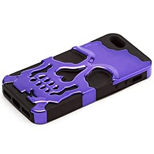 Bkjhkjy Black Silicon Plus Skull Heads Case for iPhone 5/5S , Purple