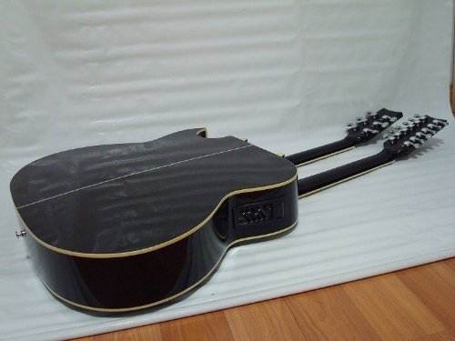 Ktone 6/12 String Acoustic Electric Double Neck Guitar, 4eq, Cutaway, Black /W Gig Bag by Ktone (Image #2)