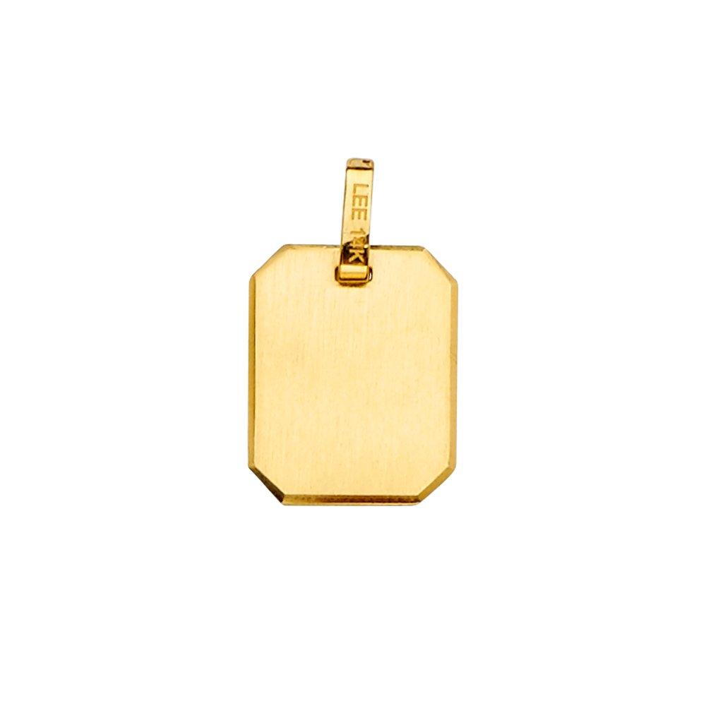 Size : 21 x 12 mm GoldenMine 14k Yellow Gold Retangular Engravable Hollow Pendant