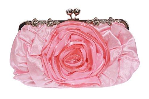 Gathered & Rose Trim Evening Bag Color: Pink