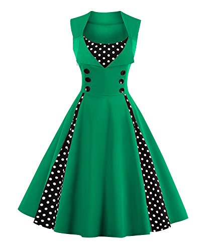 Killreal Women's Rockabilly A-Line Polka Dot Print Cocktail Vintage 50s Style Party Dress Green XXXX-Large